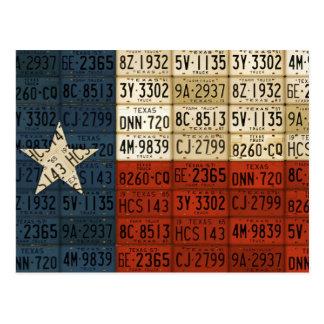 テキサス州の単独星の州のナンバープレートの芸術の旗 ポストカード