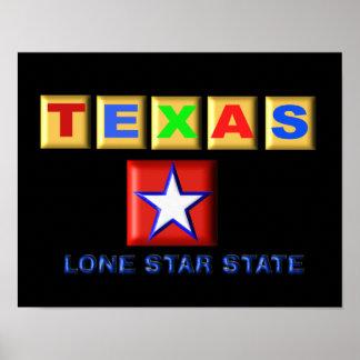 テキサス州の単独星の州ポスター ポスター