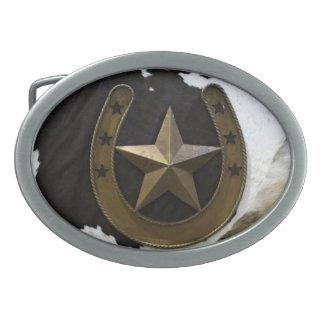 テキサス州の単独星の馬の靴の写真のベルトの留め金 卵形バックル