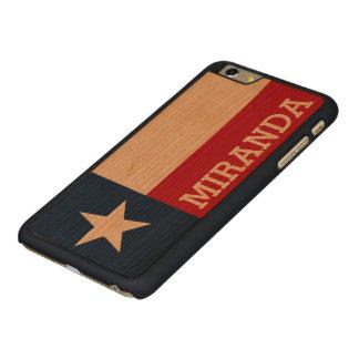 テキサス州の名前入りな旗 CarvedチェリーiPhone 6 PLUSスリムケース
