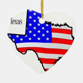 テキサス州の地図および旗 セラミックオーナメント