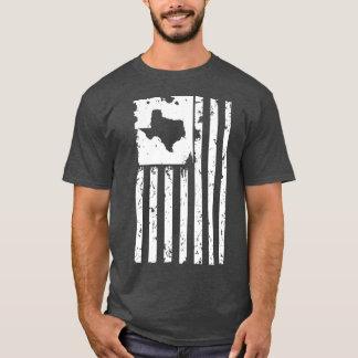 テキサス州の地図が付いている動揺してで白い米国旗 Tシャツ
