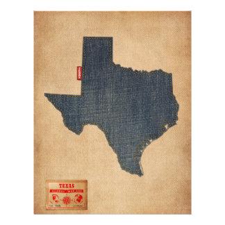 テキサス州の地図のデニムのジーンズのスタイル チラシ