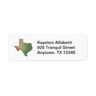 テキサス州の地図の差出人住所ラベル ラベル