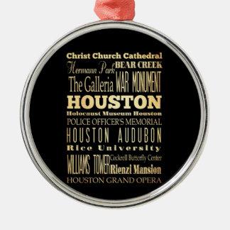 テキサス州の州のタイポグラフィの芸術のヒューストン都市 メタルオーナメント