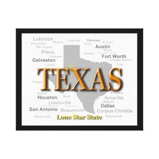 テキサス州の州のプライドの地図のシルエット キャンバスプリント