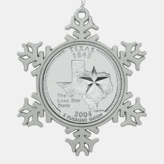 テキサス州の州の四分の一 スノーフレークピューターオーナメント