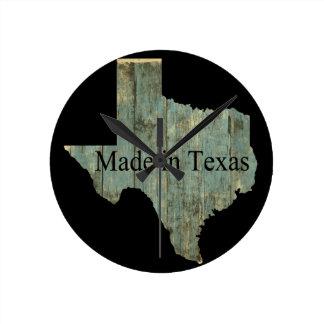 テキサス州の州の地図の険しい製材柱時計 ラウンド壁時計