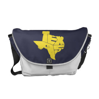 テキサス州の州の地図のButtercupYellowのメッセンジャーバッグ メッセンジャーバッグ