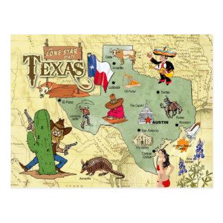 テキサス州の州の地図 ポストカード