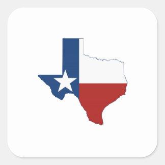 テキサス州の州の旗および地図 スクエアシール
