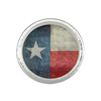 テキサス州の州の旗のヴィンテージのレトロのスタイルの銀のリングや輪 リング