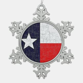 テキサス州の州の旗 スノーフレークピューターオーナメント
