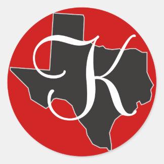テキサス州の州の輪郭のカスタムなモノグラムのイニシャル ラウンドシール