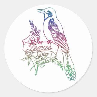 テキサス州の州鳥-マネシツグミ ラウンドシール