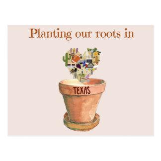 テキサス州の新しい家の発表の私達の根を植えること ポストカード