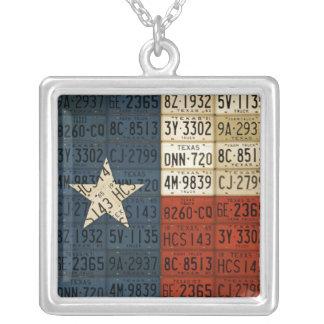 テキサス州の旗のナンバープレートの芸術の単独星の州 シルバープレートネックレス