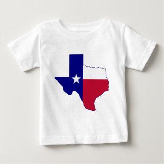 テキサス州の旗の地図 ベビーTシャツ