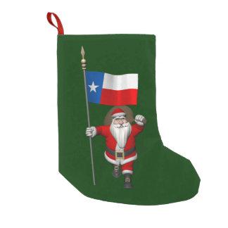 テキサス州の旗を持つサンタクロース スモールクリスマスストッキング