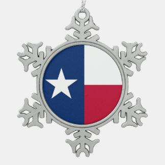 テキサス州の旗を持つ雪片のオーナメント スノーフレークピューターオーナメント