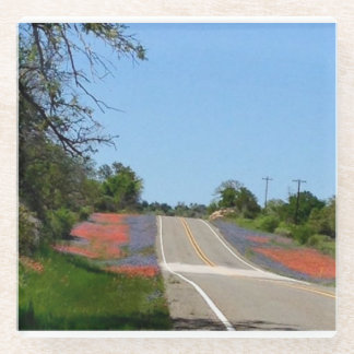 テキサス州の景色の野生の花が付いているガラス正方形のコースター ガラスコースター