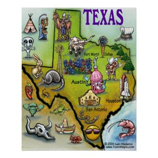 テキサス州の漫画の地図 ポスター
