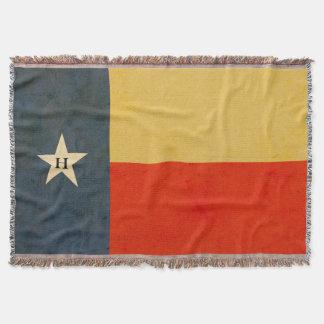 テキサス州の素朴な旗の名前入りなブランケット スローブランケット
