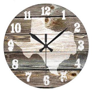 テキサス州の美しく素朴な地図の確実な木製に見ること ラージ壁時計