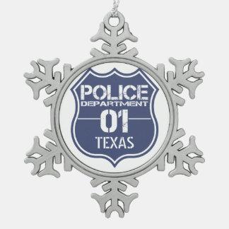 テキサス州の警察の盾01 スノーフレークピューターオーナメント
