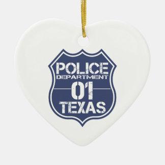 テキサス州の警察の盾01 セラミックオーナメント