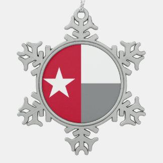 テキサス州の赤い旗 スノーフレークピューターオーナメント