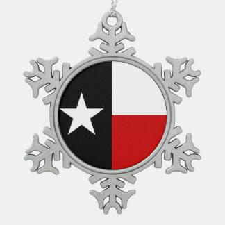 テキサス州の赤くおよび黒い旗 スノーフレークピューターオーナメント