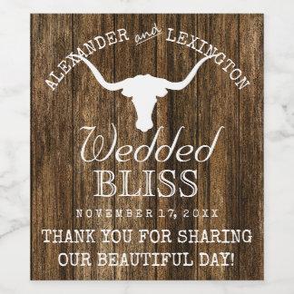 テキサス州の長角牛の素朴な国牧場結婚式 ワインラベル