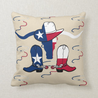 テキサス州の長角牛の雄牛のカーボーイ・ハットブーツおよびロープ クッション