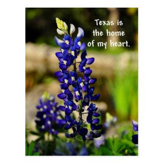 テキサス州は私のハートのBluebonnet Poastcardの家です ポストカード