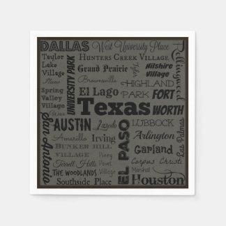 テキサス州都市タイポグラフィのナプキン スタンダードカクテルナプキン
