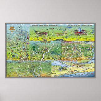 テキサス州都市漫画の地図 ポスター