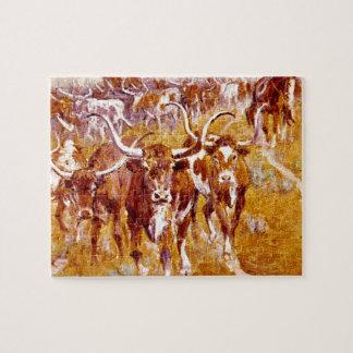 「テキサス州長角牛」の、オラフC.Seltzer_Greatの芸術品 ジグソーパズル