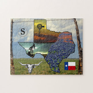 テキサス州-地図、多彩な写真11x14のサイズ ジグソーパズル