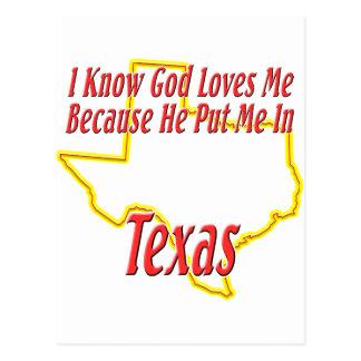 テキサス州-神は私を愛します ポストカード