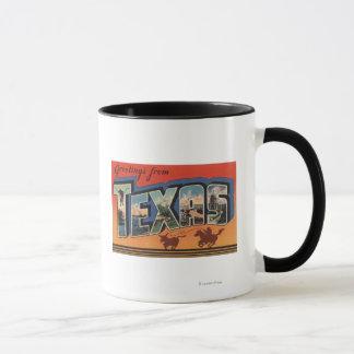 テキサス州(Bullをロープをかけているカウボーイ)の大きい手紙場面 マグカップ