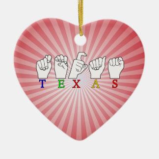 テキサス州FINGERSPELLED ASLの印 セラミックオーナメント