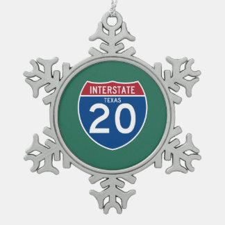 テキサス州TX I-20の州間幹線道路の盾- スノーフレークピューターオーナメント