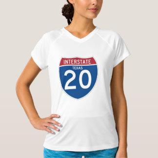 テキサス州TX I-20の州間幹線道路の盾- Tシャツ
