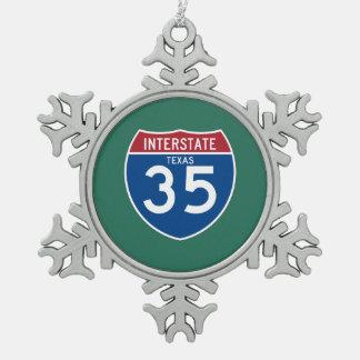 テキサス州TX I-35の州間幹線道路の盾- スノーフレークピューターオーナメント