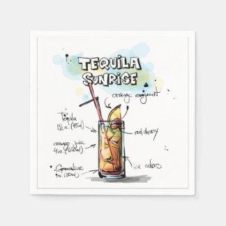 テキーラの日の出の飲み物のレシピのカクテルのナプキン スタンダードカクテルナプキン
