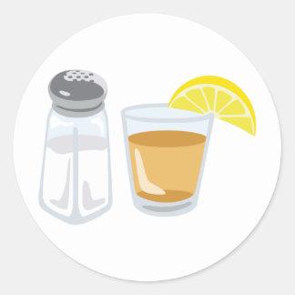 テキーラの飲み物のガラス塩入れレモン ラウンドシール