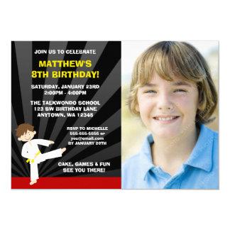 テコンドーの空手の黄色ベルトの誕生日の招待状 カード