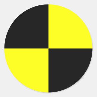テスト模造のステッカーを黒くおよび黄色|衝突して下さい 丸型シール