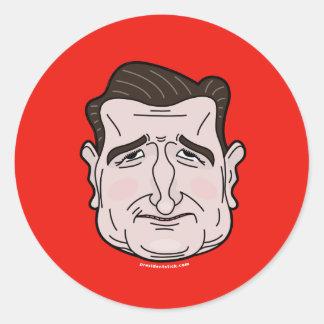 テッドCruzの漫画の顔のステッカー ラウンドシール